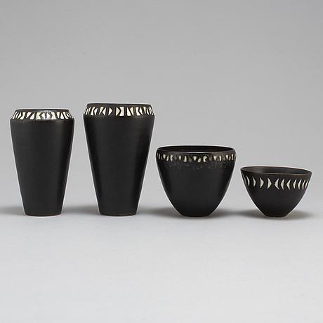 Carl-harry stålhane, 2 stoneware vases and 2 bowls, unique,  rörstrand.