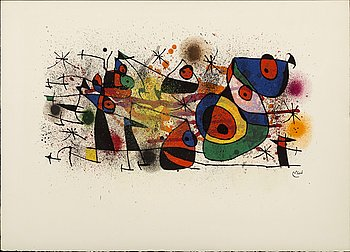 JOAN MIRÓ, a lithograph in color, signed in print. Maeght blind stamp.