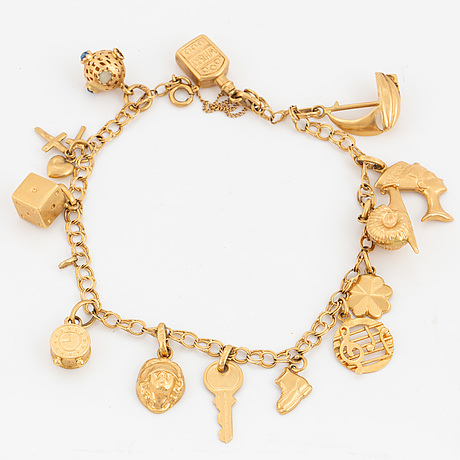 18k gold bracelet with charms