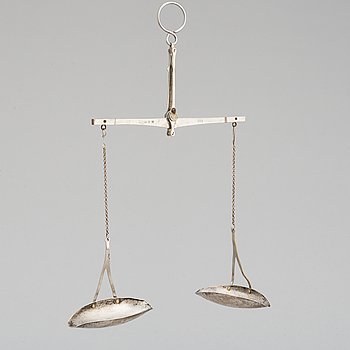AXEL EDVARD ERIKSSON, a silver and steel weight. Stockholm 1928.