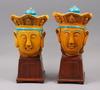 Skulpturhuvuden, ett par, stengods, kina troligen 1900-tal.