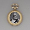 An early 20th century 18ct gold pocket watch, with the portrait of king oscar ii.
