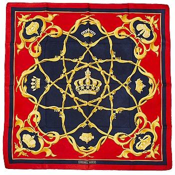 "HERMÈS, scarf, ""Crown/Couronnes"", Julie Abadie, original issue 1969."
