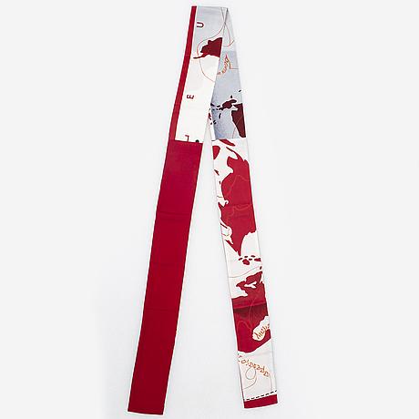 """Hermès, twilly scarf, """"le monde est un fleuve """" ( the world is one river), bali barret."""