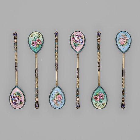 A set of six russian silver-gilt and cloisonné tea-spoons, mark of sasikow probably, moscow 1899-1908.