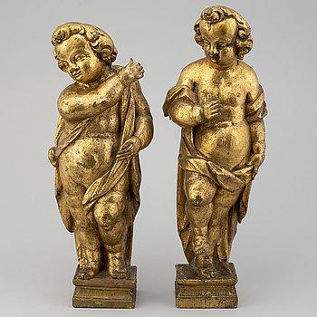 SKULPTURER, ett par, 1700/1800-tal.