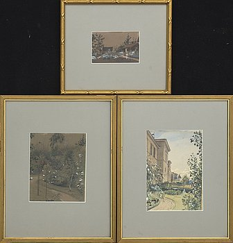 ALBERT THEODOR GELLERSTEDT, a set fo three water colours signed.