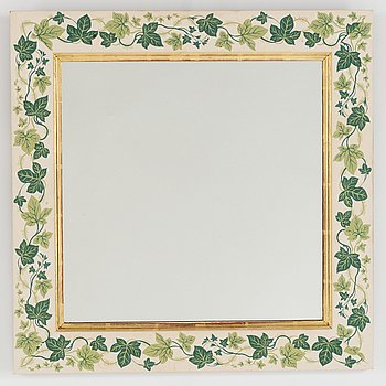 A mirror decorated with ivy attributed to Estrid Ericson for Svenskt Tenn.
