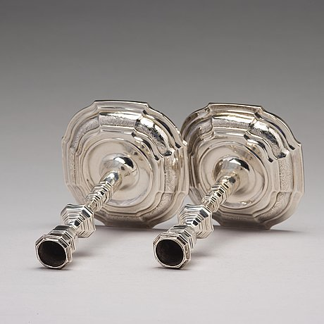 A pair of swedish 18th century silver candlesticks, mark of lorens stabeus, stockholm 1760.