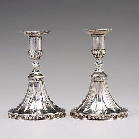 A pair of swedish 18th century silver candlesticks, mark of johan wasserman, lindesberg 1780.