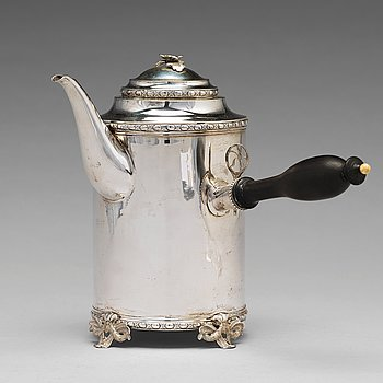 177. A Swedish 18th century silver coffee-pot, mark of Johan Schvart, Karlskrona 1791.