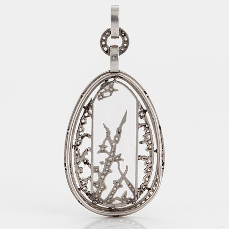 Fabergé, a jewelled platinum and rock-crystal pendant, design alma pihl.