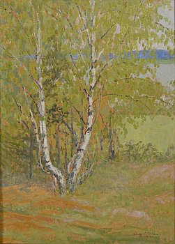 A oil on cardbord by August Soldan. signed and dated 22.V.1920.