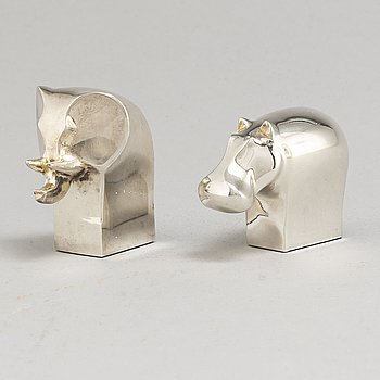 GUNNAR CYRÉN, skulpturer, 2 st, silverplätterad zink, Dansk Designs, Japan.