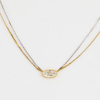 Circa 1 ct oval diamond necklace.