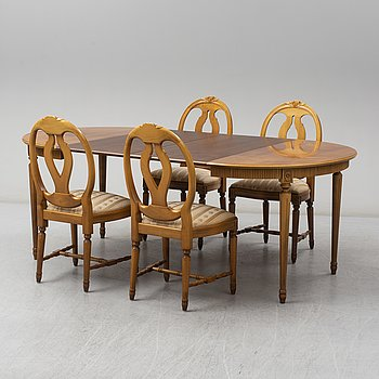 A dining table och four chairs, Gustavian style, second half of the 20th century.