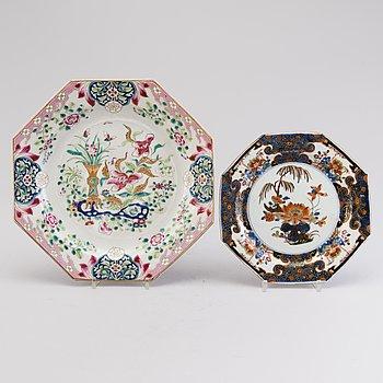 FAT, porslin 2 st, Kina 1700-talets slut.