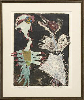 ROLF NESCH, carborundum, signed dated and numbered 1 mars 1970 tiré pour l'artiste.