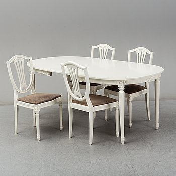 A dining table and four chairs, Gustavian style, second half of the 20th century. One leaf included.