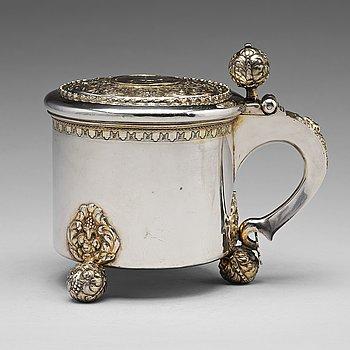 172. A Swedish 18th century parcel-gilt silver tankard, mark of Jacob Brunck, Stockholm 1724.