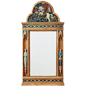 228. Gisela Trapp, in the manner of, a carved and painted wall mirror, ca 1900.