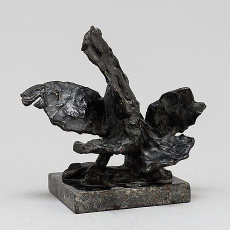Torsten fridh, skulptur, brons. sign. höjd 17 cm, längd 18 cm