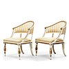 A pair of late gustavian armchairs, circa 1800.
