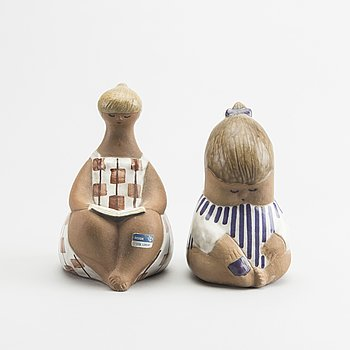 LISA LARSON, a set of two glazed stoneware figurines.