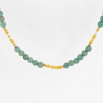 Aventurine quartz and opal bead necklace.