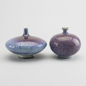 BERNDT FRIBERG, a set of two glazed stoneware vases 1971.