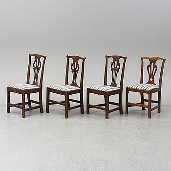 Four Chippendale chairs, England, 18th century.