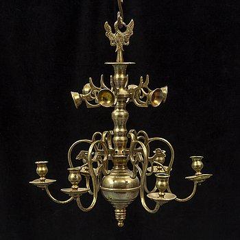 LJUSKRONA, mässing, barockstil, 1800-tal.