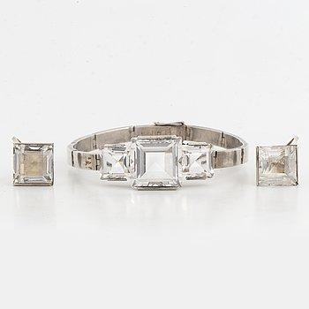 WIWEN NILSSON, örhängen samt armband, STIGBERT, silver med bergkristall.