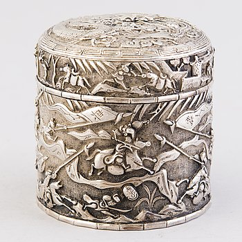 A Chinese silver box. Control marked by A. Tillander, Helsinki 1938.