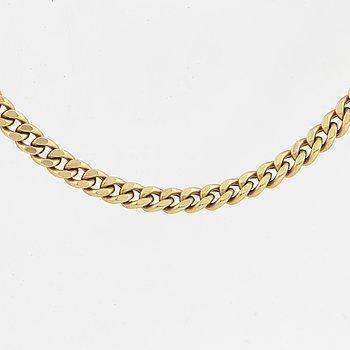 A curb-link necklace. Length 50 cm.