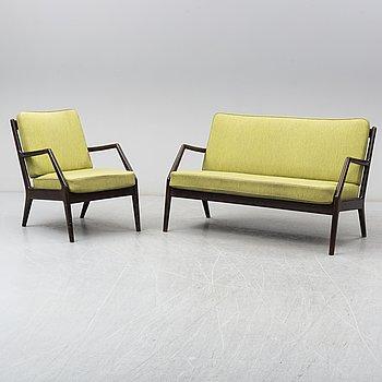 PETER HVIDT & ORLA MØLGAARD NIELSEN, soffa samt fåtölj, France & Daverkosen, Danmark. 1950-tal.