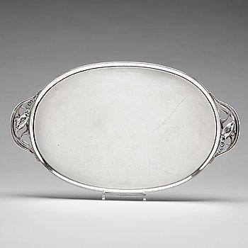 """127. Georg Jensen, a sterling silver """"Blossom"""" tray, Copenhagen 1920-30's, design nr 2E."""