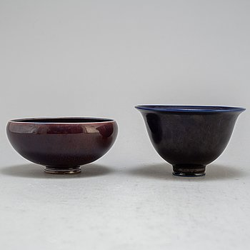 BERNDT FRIBERG, skålar, 2 stycken, stengods, Gustavsberg studio, signerade och daterad 1975.