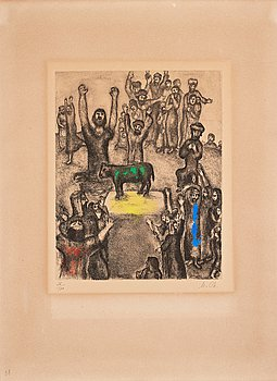 "625. Marc Chagall, ""Le veau d'or"" from: ""La Bible""."