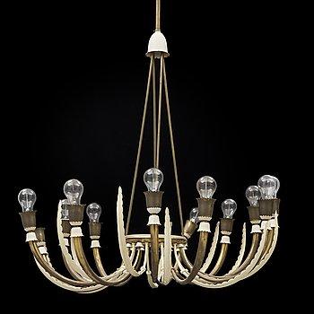 A Swedish Modern brass chandelier, 1940's.