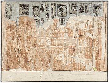 ALBERT JOHANSSON, blandteknik limfärg/akvariesand/betongspackel på pannå, signerad Albert Johansson och daterad 1962.