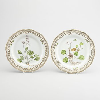 A pair of Flora Danica porcelain plates for Royal Copenhagen Denmark 20th century.