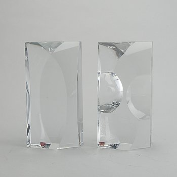 SVEN PALMQVIST, a pair of signed glass sculptures Orrefors late 20th century.