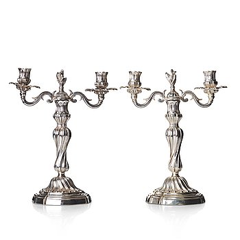112. A pair of Louis XV mid 18th century candelabra.