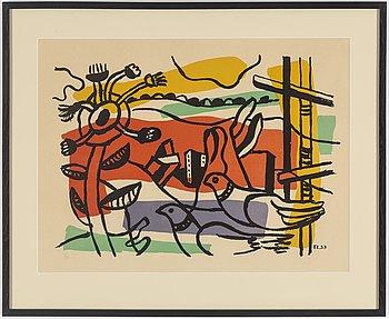 "FERNAND LÉGER, färglitografi, ""Composition aux deux oiseaux"", signerad och numrerad 72/75."