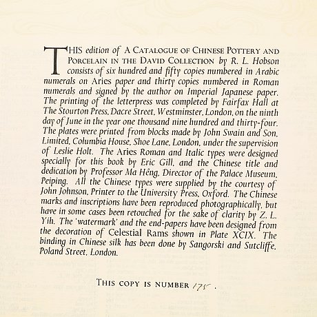 R.l. hobson, 'a catalogue of chinese pottery and porcelain in the collection of sir percival david', london, 1934.