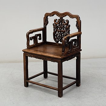 A Chinese hardwood chair, 20th Century.