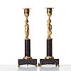 A pair of late gustavian candlesticks, early 19th century.