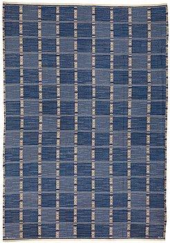 "295. Barbro Nilsson, A CARPET, ""Falurutan, blå"", flat weave, ca 364,5 x 255,5 cm, signed AB MMF BN."