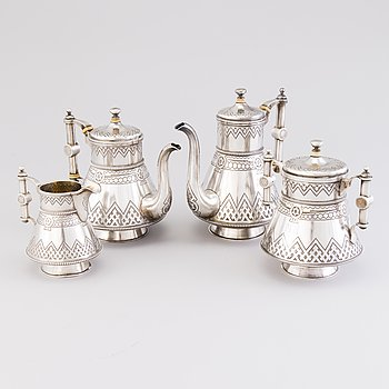 A FOUR PIECE COFFEE AND TEA SET, silver, S:t Petersburg, 1885, Gratchev, Johan Olsonius, sugar bowl1881, Karl Albrecht.